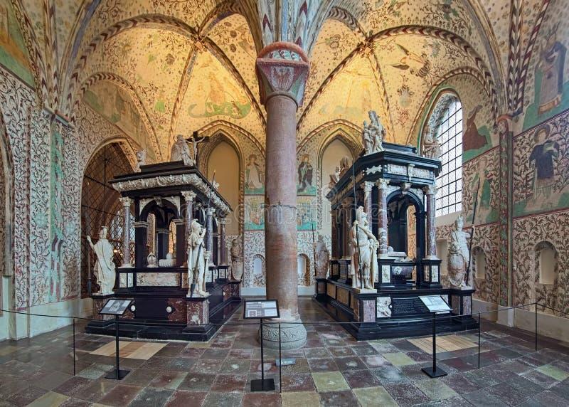 Binnenland van Kapel van Magi in de Kathedraal van Roskilde, Denemarken royalty-vrije stock foto