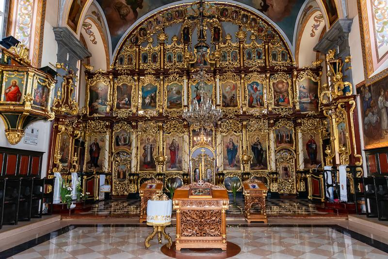 Binnenland van Kerk van de Geboorte van Christus van Maagdelijke Mary, die als de Kerk van de Vergine Santa wordt bekend royalty-vrije stock afbeelding