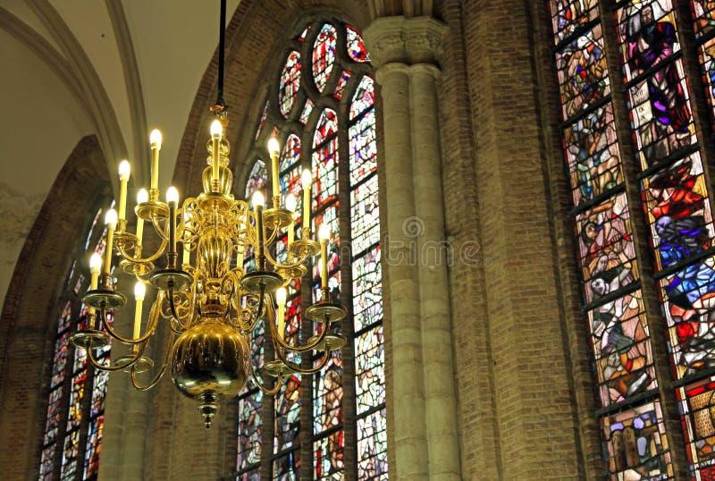 Binnenland van kerk Nieuwe Kerk in Delft, Nederland royalty-vrije stock foto's