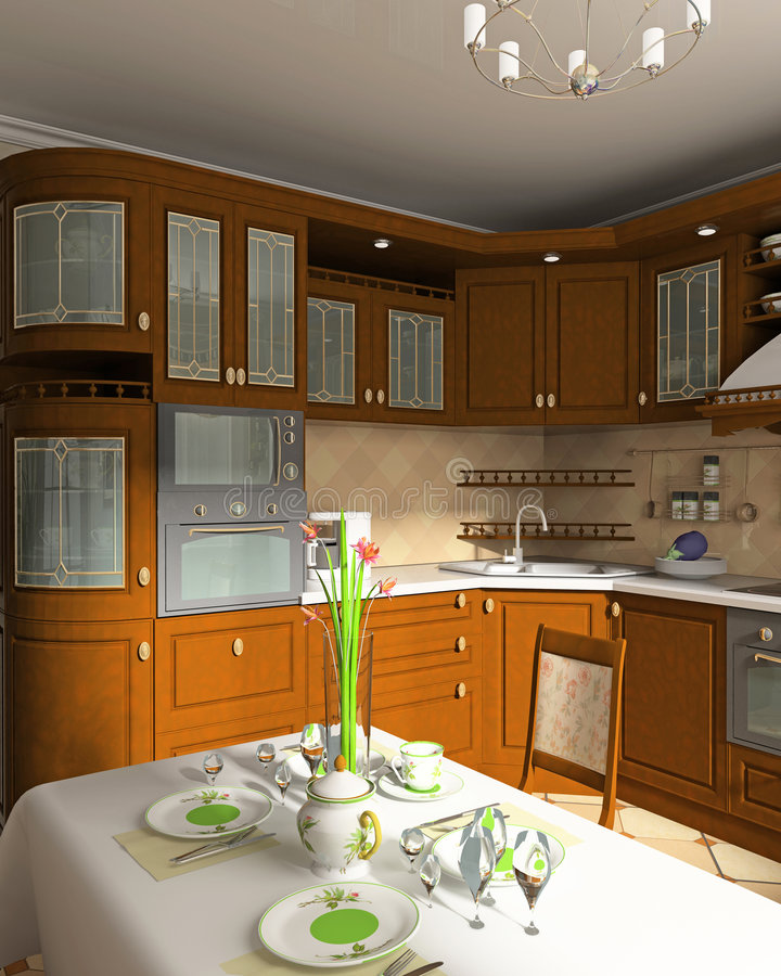 Binnenland van keuken royalty-vrije illustratie