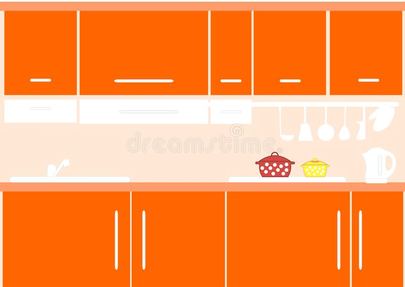 Binnenland van keuken in oranje kleur royalty-vrije illustratie