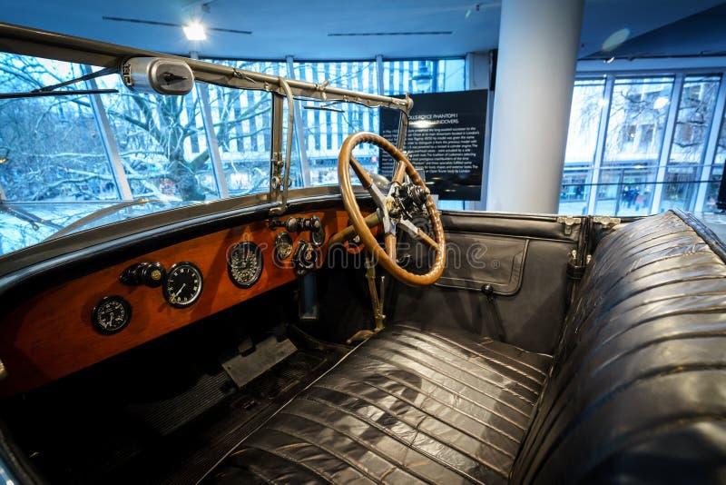 Binnenland van luxeauto Rolls-Royce Phantom I Open Tourer, 1926 stock fotografie