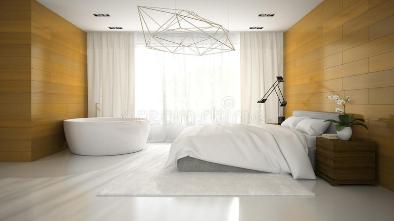 Binnenland van modern ontwerp badroom met badkuip het 3D teruggeven stock illustratie