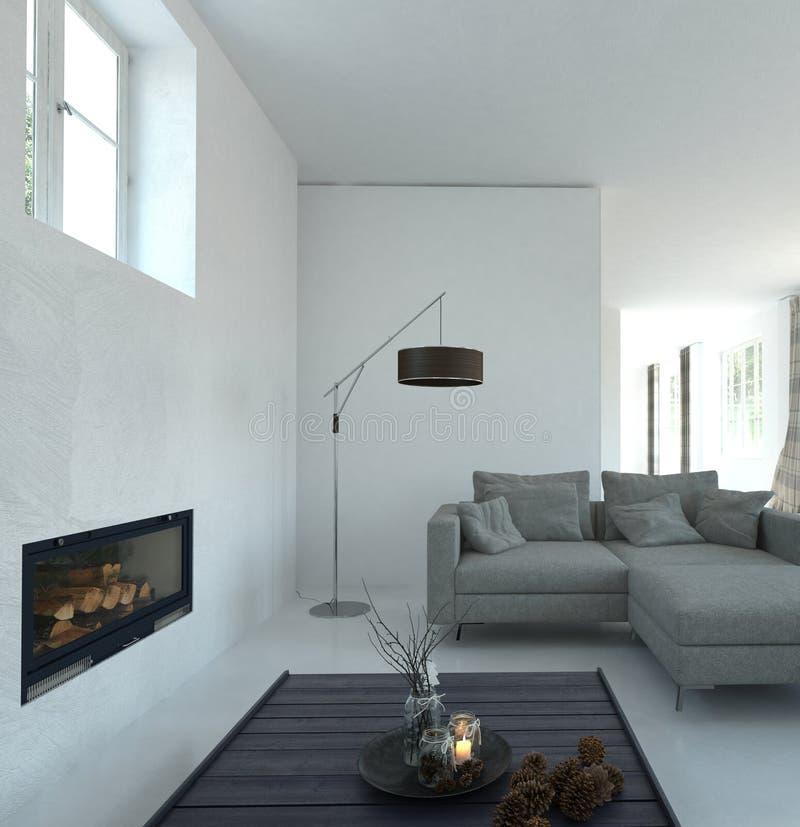 Binnenland van Moderne Woonkamer in Ruim Huis stock illustratie