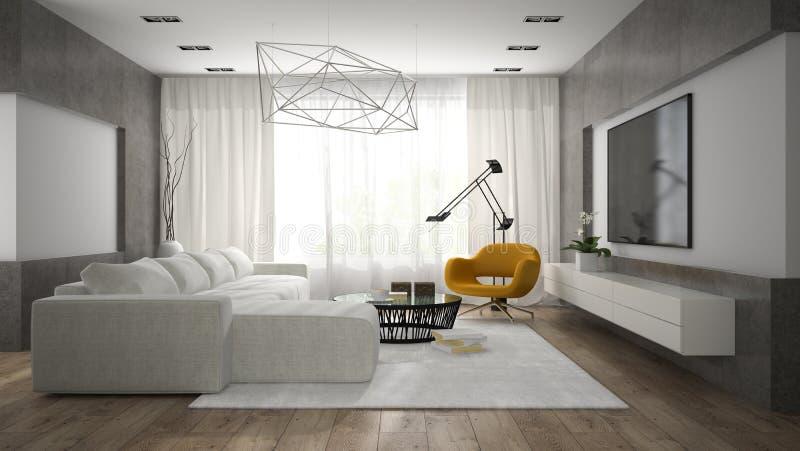 Binnenland van modieuze moderne ruimte met het grijze bank 3D teruggeven stock afbeelding