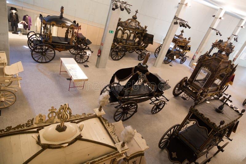 Binnenland van Museu DE Carrosses Funebres in Barcelona stock foto