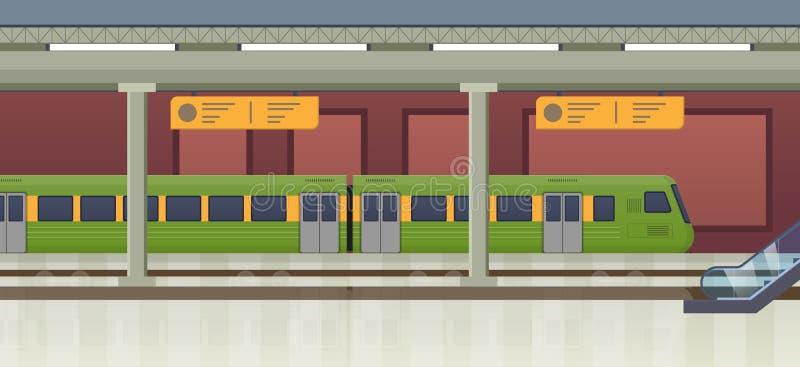 Binnenland van ondergrondse metro post, spoorwegplatform, trein naderbij komende post royalty-vrije illustratie