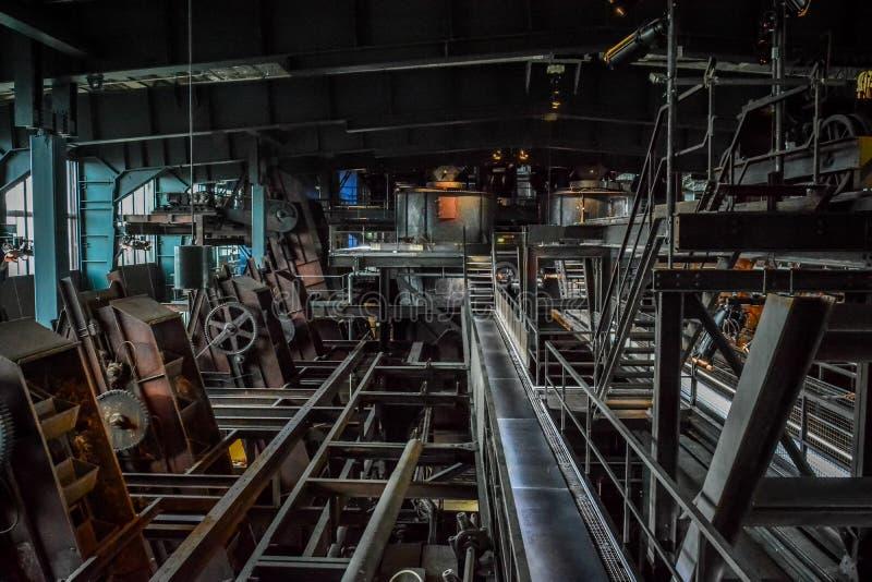 Binnenland van oude fabriek (iv), Ruhr Museum, Duitsland royalty-vrije stock foto's