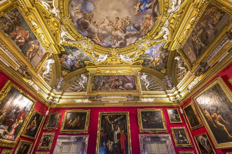 Binnenland van Palazzo Pitti, Florence, Italië royalty-vrije stock afbeelding