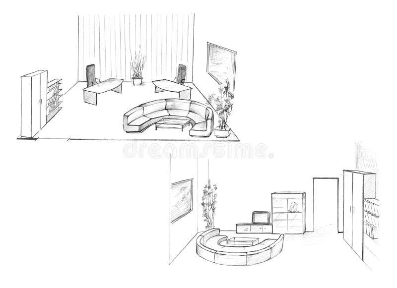 Binnenland van privé-kantoor stock illustratie