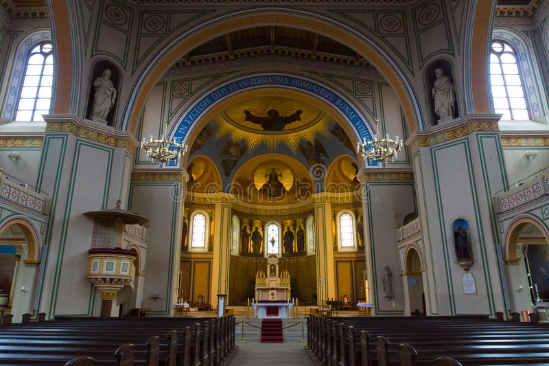 Binnenland van Roman Catholic Church van St. Peter en St. Paul. royalty-vrije stock fotografie