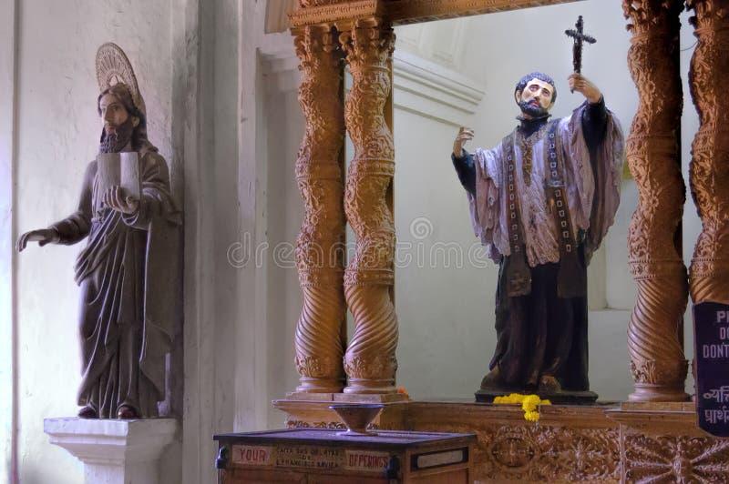 Binnenland van Rooms-katholieke kerk in Oude Goa royalty-vrije stock foto