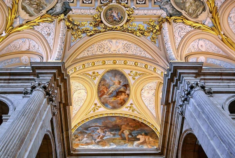 Binnenland van Royal Palace van Madrid, Spanje stock foto