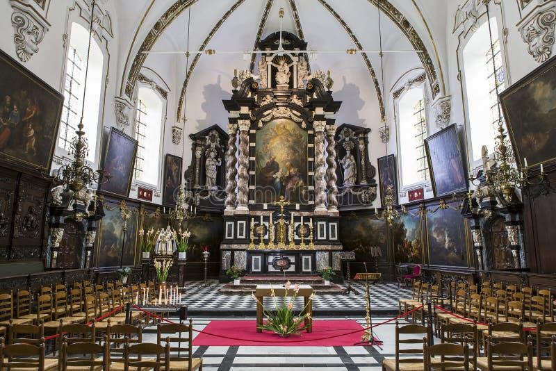Binnenland van sainte Anne chrurch, Brugge, België royalty-vrije stock foto's