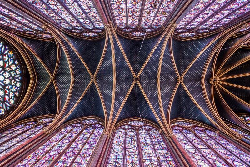 Binnenland van sainte-Chapelle, Parijs, Frankrijk royalty-vrije stock fotografie