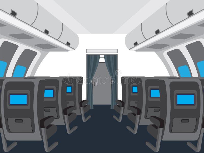 Binnenland van salon van het vliegtuig stock fotografie