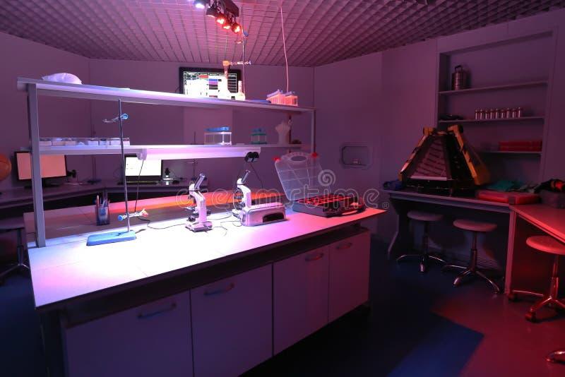 Binnenland van schone moderne witte medische of chemische laboratoriumachtergrond Laboratoriumconcept zonder mensen stock foto