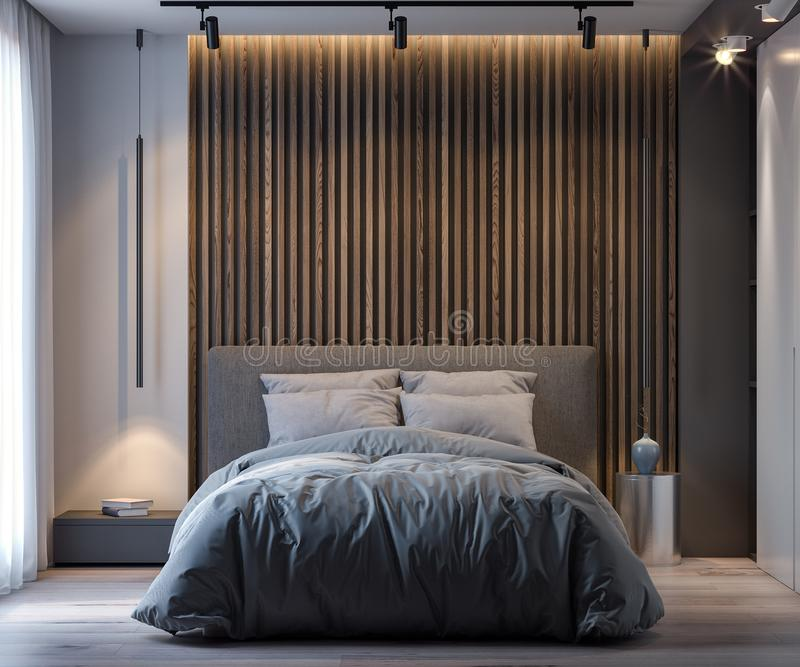 Binnenland van slaapkamer in moderne stijl, het 3D Teruggeven royalty-vrije stock fotografie