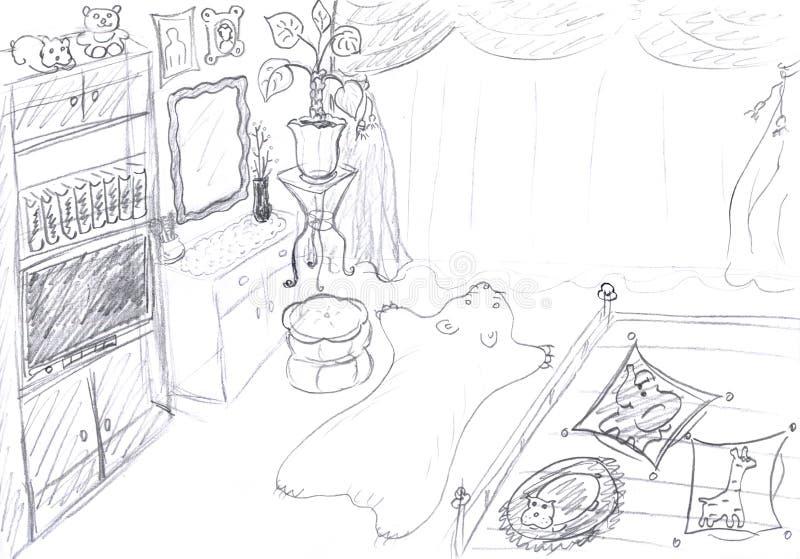 Binnenland van slaapkamerschets royalty-vrije illustratie