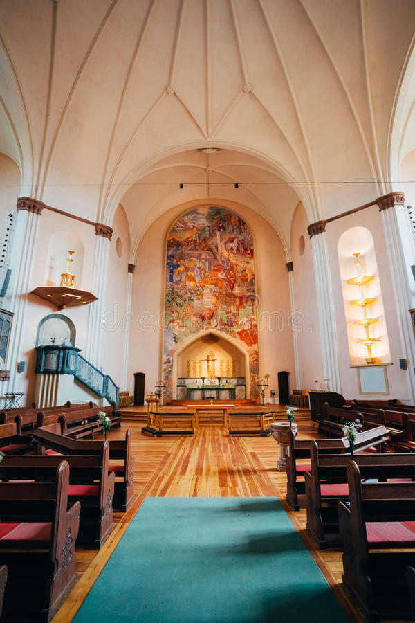 Binnenland van Sofia Kyrka - Sofia Church - binnen stock afbeelding