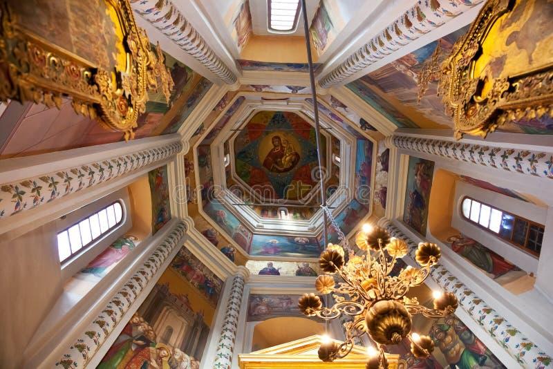 Binnenland van St Basilicumkathedraal in Moskou stock afbeeldingen