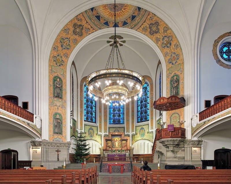 Binnenland van St John Kerk (kyrka van Sankt Johannes) in Malmo, Zweden royalty-vrije stock afbeelding