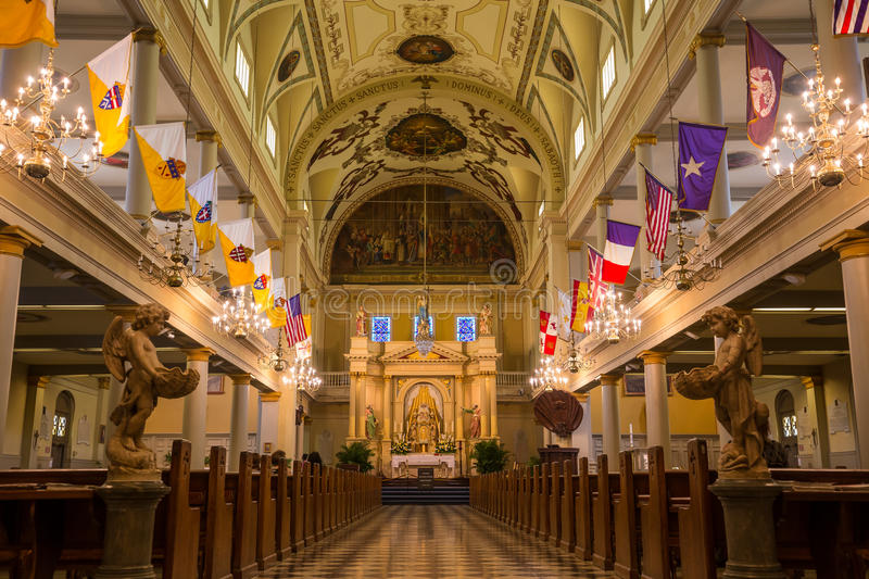 Binnenland van St Louis Cathedral in Jackson Square New Orleans stock fotografie