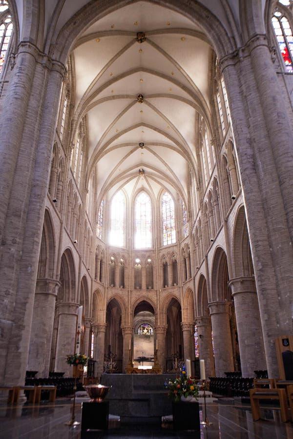 Binnenland van St Michael en St Gudula Kathedraal stock fotografie