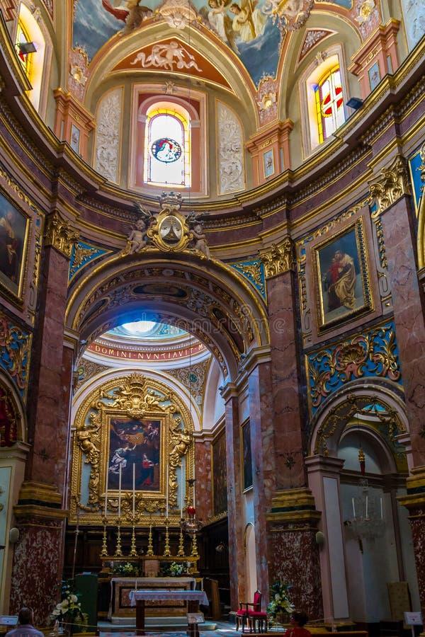 Binnenland van St Paul ` s Kathedraal - Mdina, Malta royalty-vrije stock afbeelding