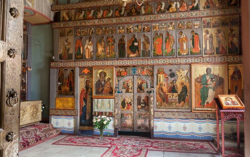 Binnenland van St. Sophia Cathedral in Veliky Novgorod royalty-vrije stock foto