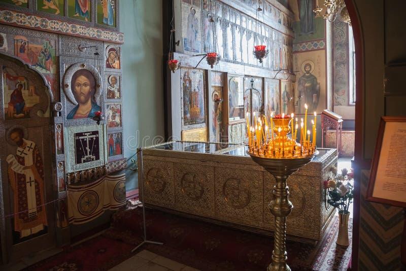 Binnenland van St. Sophia Cathedral in Veliky Novgorod stock afbeelding