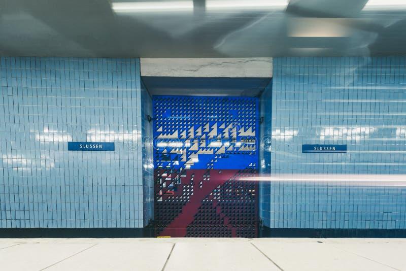 Binnenland van Sussen-metro post in Stockholm, Zweden royalty-vrije stock foto