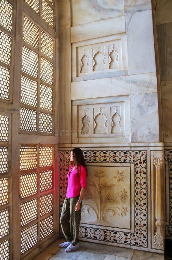 Binnenland van Taj Mahal, Agra, Uttar Pradesh, India royalty-vrije stock afbeeldingen