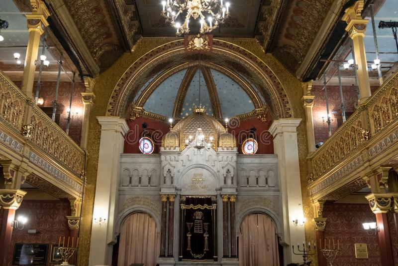 Binnenland van Tempel/de Tempelsynagoge in Miodowa-Straat, Kazimierz, het historische Joodse kwart van Krakau, Polen stock foto