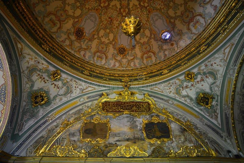 Binnenland van Topkapi-Paleis in Istanboel, Turkije royalty-vrije stock afbeeldingen