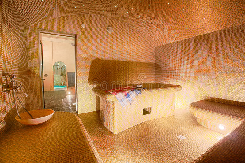 Binnenland van Turkse sauna, hammam op kuuroordcentrum royalty-vrije stock afbeelding
