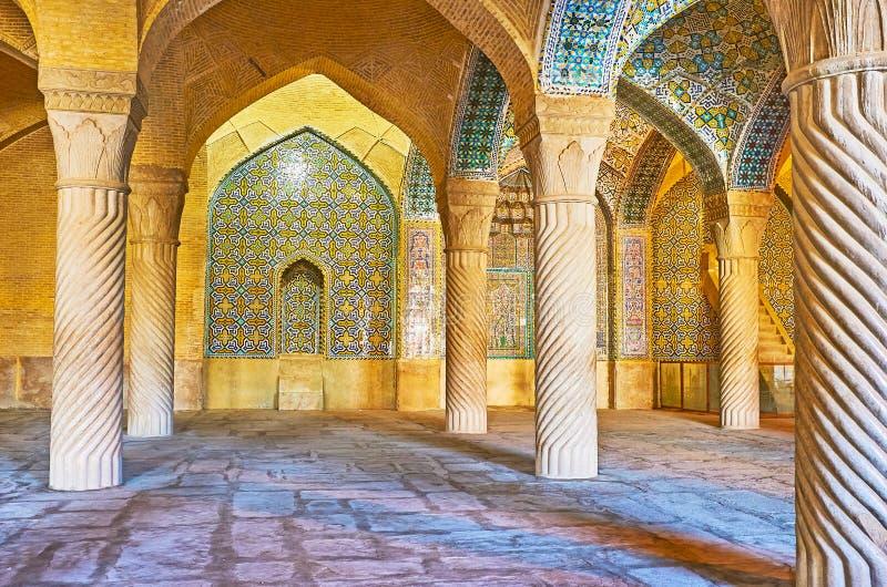 Binnenland van Vakil-Moskee, Shiraz, Iran royalty-vrije stock afbeeldingen