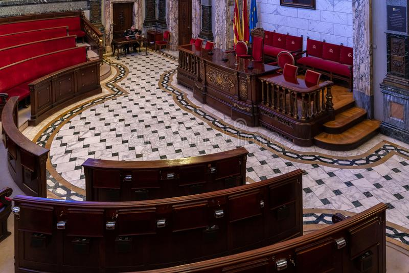 Binnenland van Valencia City Hall-de bouw in Valencia Spain op 27 Februari, 2019 Niet geïdentificeerde één royalty-vrije stock foto's