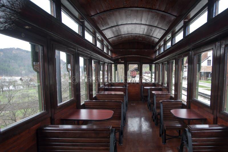 Binnenland van vervoer van de luxe het oude trein stock afbeelding