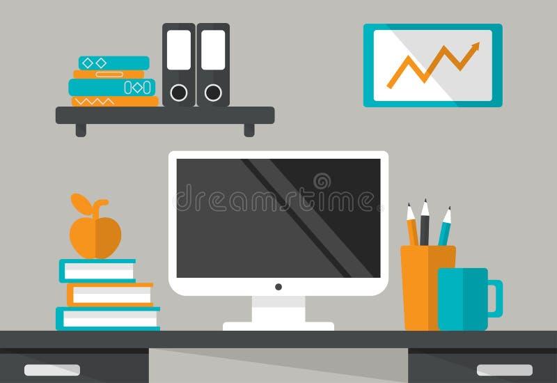 Binnenland van Werkende plaats Bureau met monitor, boekenrek, boeken stock illustratie