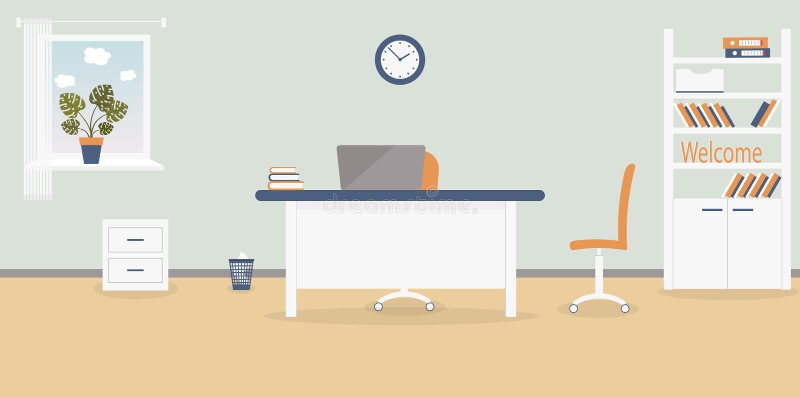 Binnenland van werkende plaats in het bureau op de lichtgrijze achtergrond Vector illustratie Meubilair: lijst, stoel, kabinet me stock illustratie