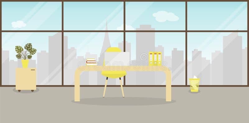 Binnenland van werkende plaats in het moderne bureau in Skandinavische stijl Groot venster met stadslandschap met wolkenkrabbers  stock illustratie