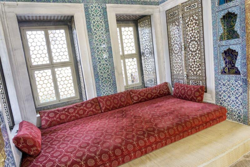 Binnenlands Detail van Topkapi-Paleis, Istanboel, Turkije royalty-vrije stock afbeeldingen