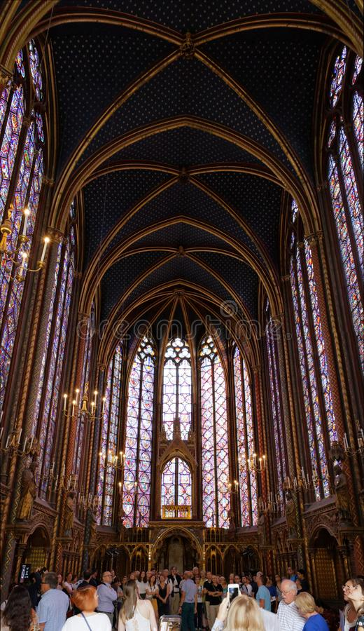 Binnenlands gebrandschilderd glas sainte-Chapelle stock fotografie