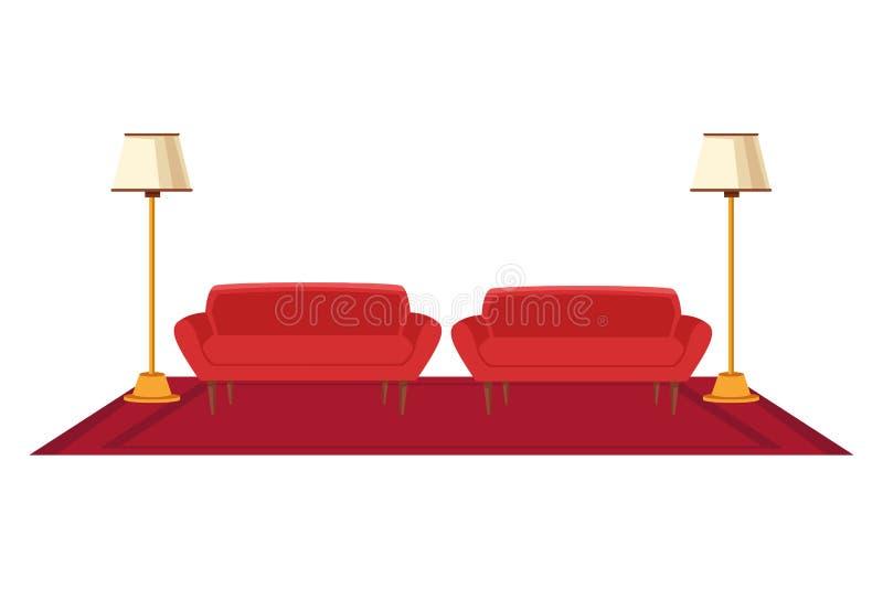Binnenlands het pictogrambeeldverhaal van het meubilairhuis stock illustratie