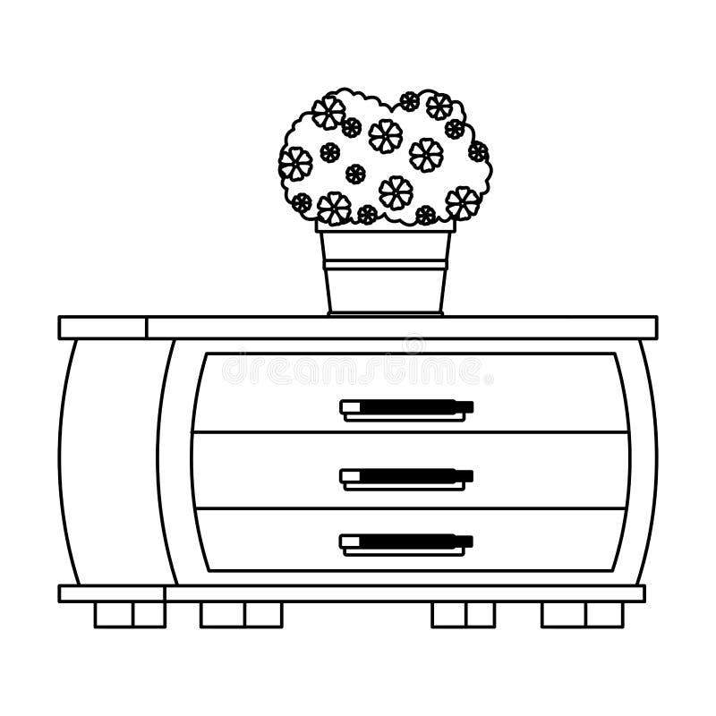 Binnenlands het pictogrambeeldverhaal van het meubilairhuis in zwart-wit vector illustratie