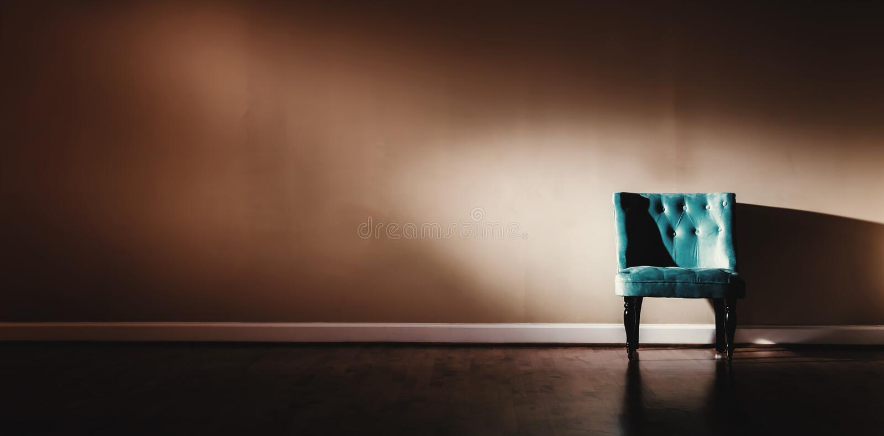 Binnenlands huis met turkooise stoel royalty-vrije stock afbeeldingen