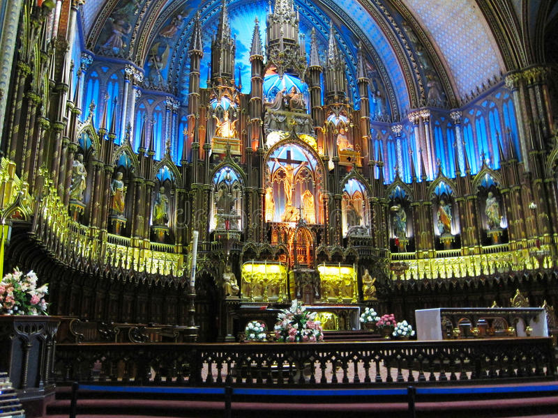 Binnenlands - Notre Dame-kathedraal Montreal royalty-vrije stock foto's