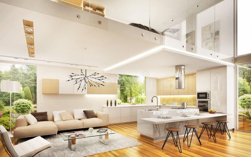 Binnenlands ontwerp in een groot modern huis stock afbeelding
