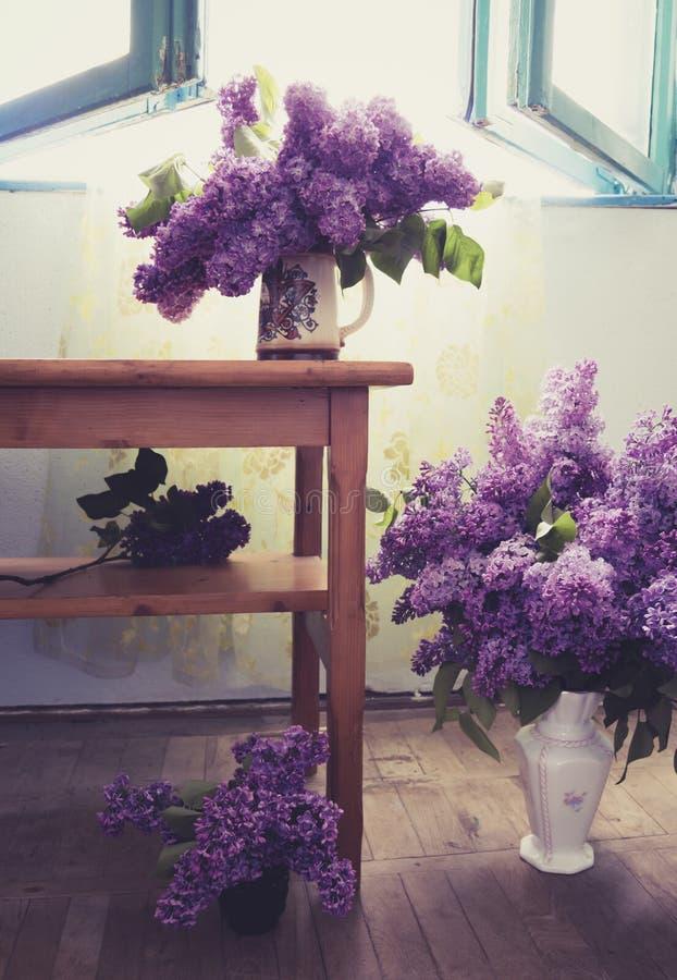 Binnenlands ontwerp met lilac bloemen in vele vazen royalty-vrije stock afbeeldingen